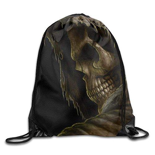 Naiyin Grim Reaper Death Dark Skull Drawstring Backpack Bag Sports Gym Sack (Grim Reaper Make-up)