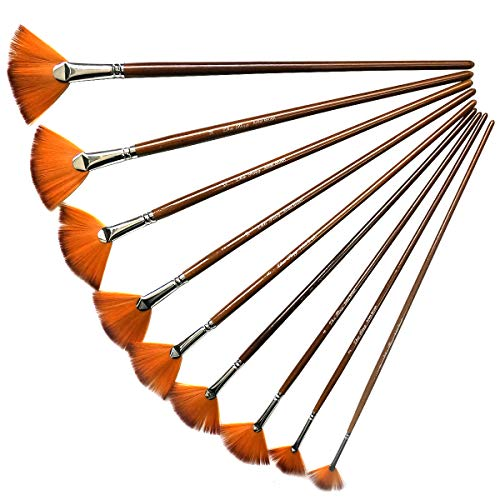 YXJD 9pcs Pinsel Set Künstlerpinsel Nylon Pinsel mit langem Holzgriff für Künstler Aquarell Ölgemälde Anfänger Kinder