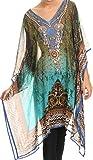 Sakkas NPCaftan1 -Pareo/Vestido de Playa Puro Diamantes Acentuados Tala -Verde/Turquesa-One Size Regular