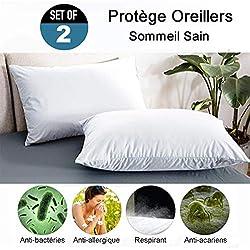 RICHAIR Protege Oreiller Impermeable Set de 2(60 x 60cm)-Std OEKO-TEX 100 et Fermeture Zip-Respirant - Anti Sueur - Anti Acarien-Blanc