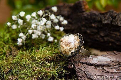 Bague faite main de fleurs blanches de gypsophile 20mm- Bague fantaisie artisanale de fleurs séchées - Bague ajustable boho - Idée Cadeau de Noël - Black Friday