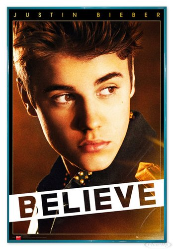 Close Up Justin Bieber Poster Believe (94x63,5 cm) gerahmt in: Rahmen türkis