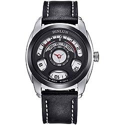 binlun Herren außergewöhnliche schwarz automatische mechanische wasserabweisend Stilvolles Lederband Schnalle Armbanduhr