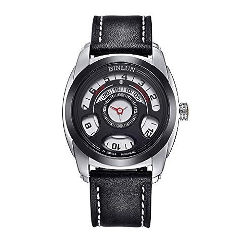 Binlun Mens Unusual Black Automatic Mechanical Water Resistant Stylish Leather Strap Buckle Wrist Watch