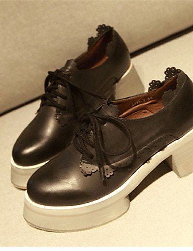 ZQ Scarpe Donna - Stringate - Casual - Punta arrotondata - Quadrato - Finta pelle - Nero / Kaki , black-us8 / eu39 / uk6 / cn39 , black-us8 / eu39 / uk6 / cn39 khaki-us6 / eu36 / uk4 / cn36