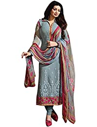 Clothfab Women's Georgette Embroidered Work Party Wear Chudidar Salwar Suit Dress Material With Dupatta