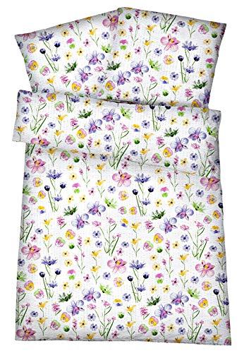Leichtes Seersucker Bettwäsche Set 135 x 200 cm Weiß Blumen – atmungsaktiver Bettdecken- und Kopfkissen-Bezug aus reiner Baumwolle mit Reißverschluss – 2 tlg. kühle Sommerbettwäsche Premium-Qualität