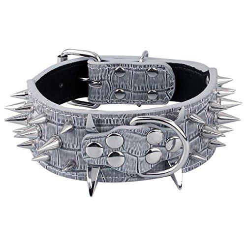 Ecloud Shop Grau PU Leder Hunde Halsband Hundehalsband Punk Stil mit Nieten einstellbar S -