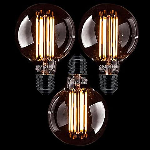 3x Russel Paul Vintage Stil Edison Schraube LED Filament 4W G80, rund, Antik Bronze Globe Industrie Licht Bernstein Retro 360Beam Lampe E27ES 2200K extra warm weiß 40W Glühlampe Ersatz [3Stück Leuchtmittel]