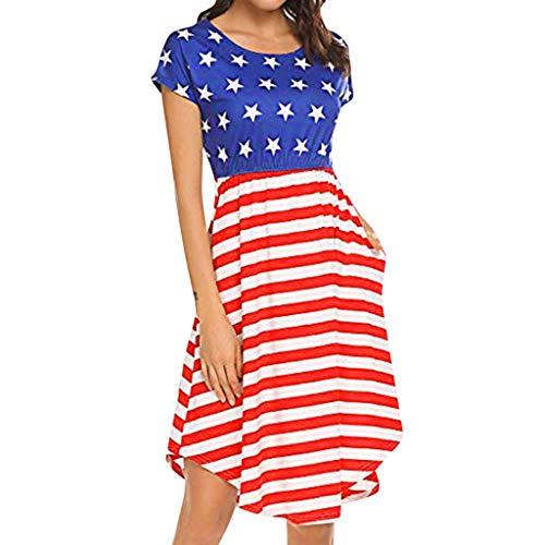 ALISIAM Amerika Flagge Kleid Damen USA Flag Kurz Ärmel Maxikleid Sommerkleider Lange Lässig Kleider Partykleid