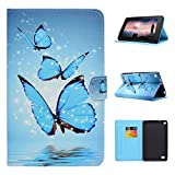 Kindle Fire 7 2015 Hülle, Asnlove Book Style PU Leder Tasche Schutzhülle Schale Flip Cover E-reader Shell Case Cover Ultra Lightweight mit Standfunktion für Amazon Kindle Fire 7.0 Zoll Tablet (Blauer Schmetterling)