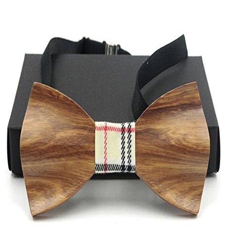 Meijunter Ajustable Clásico Hombres Tie Moda Corbata de moño Pajarita Tie Bowtie Bowtie Boda Corbata de moño Fiesta Regalo Madera #D03