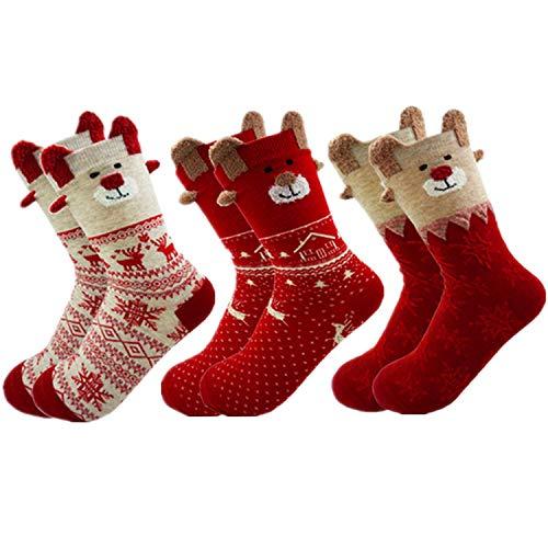 MAKFORT 3 Paar Weihnachtssocken Damen Baumwolle Winter Warm Weihnachten Socken Rentier Schneeflocke Socken Weihnachtsgeschenke Für Frauen 34-40
