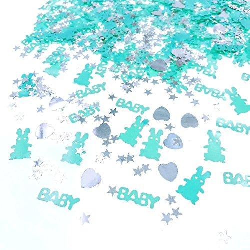 JZK 4 x Paquetes Azul Chico Fiesta de Bienvenida al bebé Confeti Bautizo bebé Confeti cumpleaños bebé Confeti, niños Confeti de Mesa de Fiesta Dispersar decoración, BEBÉ y Conejo y corazón y Estrella