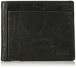 Fossil Men Neel Leather Bifold With Flip Id Wallet, black, One Size