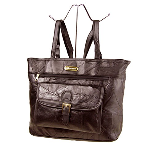 Fashion Essentials-in pelle chiusura -Buckle vano patchwork PU tagliare borse della borsa (brown) brown