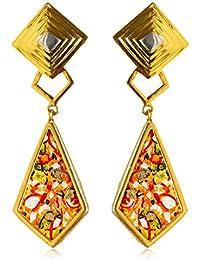 Miranika Gold Plated Drop Earrings for Women (C1D10ASC)