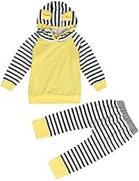 SMARTLADY Bebé Niña Niño Blusa con Capucha + Pantalones a Rayas Conjunto de Ropa