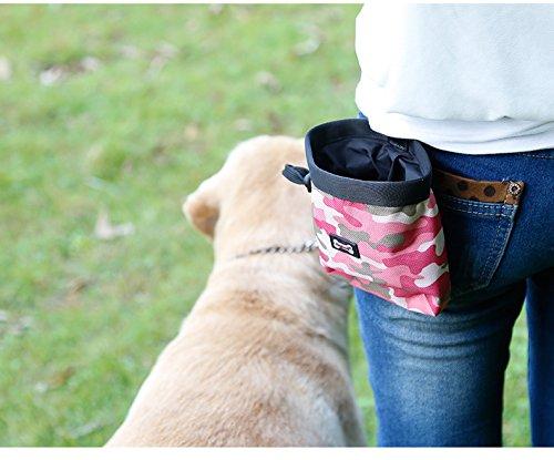 Tofern Futterbeutel Hundetraining Futtertasche Hund Snack Tasche Futteraufbewahrung mit Befestigungsclip klein robust Training, Rosa
