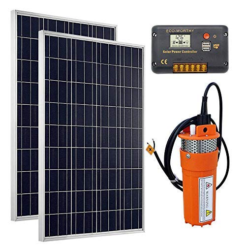 DC HOUSE Solar Water Pump Kit, 24V Submersible Pump + 2pc 100W Solar Panel + 20A Charge Controller for Deep Well Watering - Barbed Port