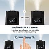 Luftbefeuchter Ultraschall Humidifier TaoTronics 6L Befeuchter bis 60㎡ Warm und Kalt mit 360° Düse Außen Feuchtigkeitssensor, LED-Anzeige, Eingebaute Kartusche, Niederer Wasserstand-Schutz, Nachtmodus - 2