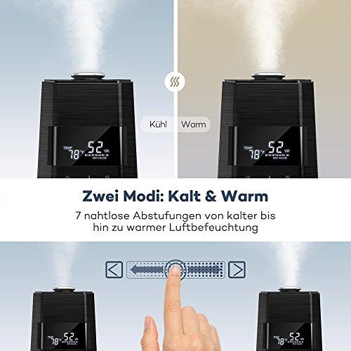 Luftbefeuchter Ultraschall Humidifier TaoTronics 6L Befeuchter bis 50㎡ Warm und Kalt mit 360°Düse Außen Feuchtigkeitssensor, LED-Anzeige, Eingebaute Kartusche, Niederer Wasserstand-Schutz, Nachtmodus