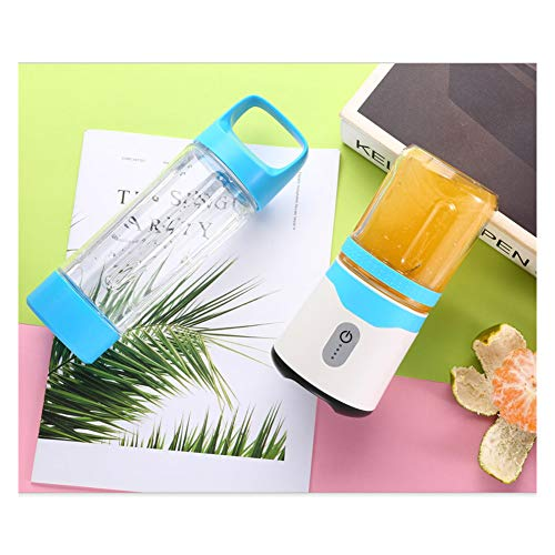 Licuadora Portátil USB,Mini Batidora de Vaso para Fruta, con 6 Cuchillas,USB Fruit Juicer Cup Personal,para Fruta, Verdura, Smoothies, Milkshake(350ml),Blue