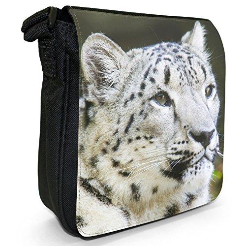 Snow Leopard Wild Cat piccolo nero Tela Borsa a tracolla, taglia S White Snow Leopard Sitting