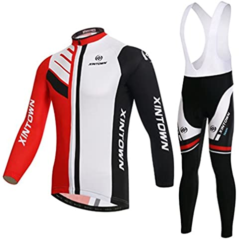 Wylang Unisex Cómoda 2pcs Ciclismo Ropa Maillots Mange Largo Baberos Pantalones