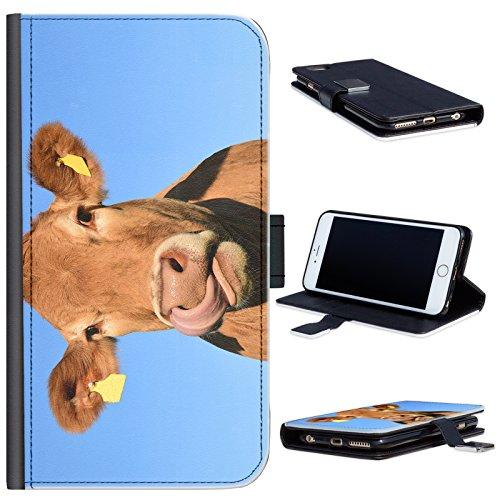 Hairyworm - BG0210 Vorderansicht der Kuh leckt seine Nase Oppo F1 Plus Leder Klapphülle Etui Handy Tasche, Deckel mit Kartenfächern, Geldscheinfach und Magnetverschluss. Oppo F1 Plus Fall