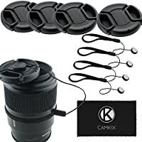 CamKix - Juego de 4 Tapas de Objetivo para cámaras réflex Digitales como Nikon, Canon, Sony, 4 capuchones de Lentes, 1 paño de Limpieza de Microfibra Camkix Incluido (58 mm)