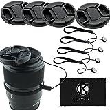 CamKix 4 Stück Snap-on Objektivdeckel oder Zentrum Pinch Objektivdeckel für Nikon, Canon, Sony und andere DSLR-Kameras – Inklusive ein Mikrofaser Reinigungstuch (72mm)
