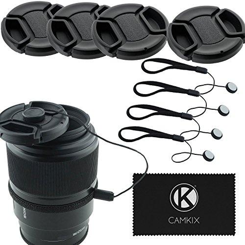 CamKix 4 Stück Snap-on Objektivdeckel oder Zentrum Pinch Objektivdeckel für Nikon, Canon, Sony und andere DSLR-Kameras - Inklusive EIN Mikrofaser Reinigungstuch (72mm) (72mm Objektivdeckel)