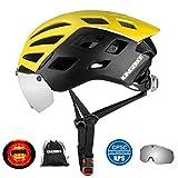 KING BIKE Fahrradhelm mit Abnehmbaren Schutzbrille Schild Visier Damen Herren UV400 Schutz Kann kann über die Brille Gelb