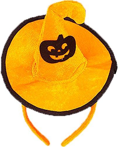 (Ababalaya Halloween Stirnband Hexe Hut Haarband Kopfschmuck für Kinder Halloween Kostüm Party Dekoration,Kürbis)