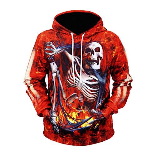 SIFNG Lustige Design Cosplay Halloween Brennen Skelett 3D Gedruckt Kapuzenpullis Mendrawstring Hoodies (Brennen Kostüm)