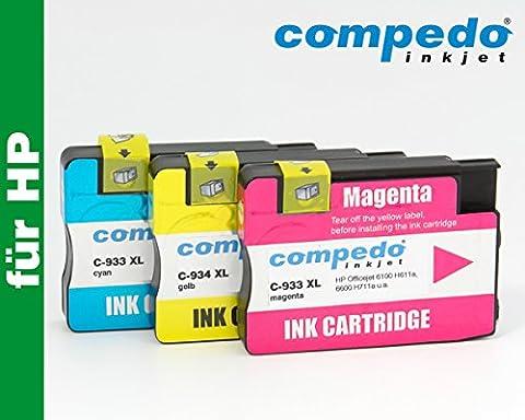 Compedo Premium XL-Color-Multipack 3er CMY (3 x 13,5 ml) mit Chip und Füllstandsanzeige ersetzt HP Nr. 933/933XL (CN058/59/60AE/CN054/55/56AE) und HP Nr. 933 (CN060AE) für HP Officejet 6100 H611a, 6600 H711a, 6700 Premium H711n, 7110 H812A wide format, 7610 H912A wide format u. a.