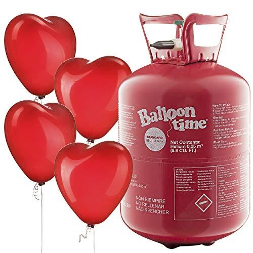 PartyMarty Herzballons & Helium zur Hochzeit - Set mit Roten Herzluftballons + Ballongas Einwegflasche TÜV Rheinland