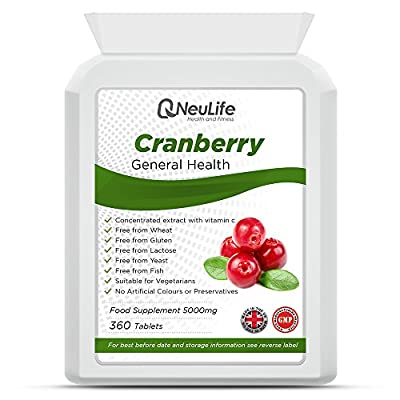 Cranberry 5000mg - 360 Tablets - by Neulife Health and Fitness from Neulife Health and Fitness