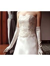 Señoras largo satinado muñeca guantes para noche de bodas noche de fiesta de baile Freesize flexible nupcial guantes