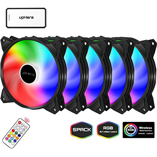 upHere 120mm RGB LED PC Lüfter für Gehäuselüfter mit Controller, 5 Pack/PF1206-5