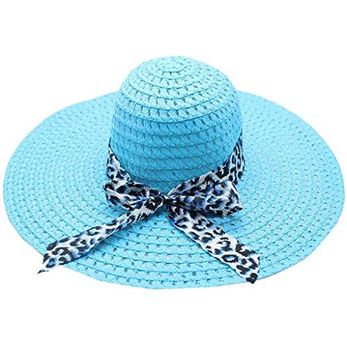 Produp Women Leopard drucken große Brim Straw Hut Sun Floppy breit Brim Hüte Beach Cap würdevoll und großzügig schöne und komfortable Hut