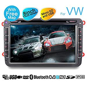 YINUO 2DIN VW 8 inch car sat nav with Bluetooth/USB/SD-Function(micro SD) for Golf/Tiguan/Jetta/Caddy/New Sharan/Passat/Bora/Polo/EOS/Toledo/Superb/Leon/Fabia/Magotan/Yeti/Scirocco/Lavida/Touran/Altea/Roomster/Rapid/Sagitr/ Praktik, support touchscreen+DVD-Player+IPOD Function