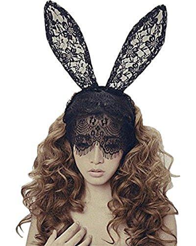 QincLing Damen Bunny Ohren Stirnband Spitzenschleier Kostüm Masquerade Maske