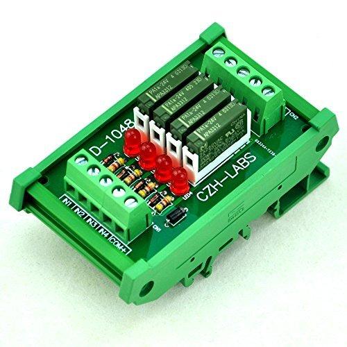 Electronics-Salon Slim DIN Rail Mount 24 V DC Spültisch/NPN 4 spst-no 5 A Power Relay Modul, PA1 A-24 V. - 24v 5 Din-module
