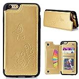CESTOR Luxus Brieftasche Hülle für Apple iPhone 6/6S Plus 5.5 Zoll, Retro Premium Flip PU Leder Floral Schmetterling Muster Design Flexible Silikon TPU Rücken Case Cover [mit Kartenhalter Ständer] + Ring Halterung für iPhone 6/6S Plus 5.5