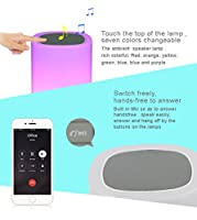 Speaker Night Light,LED RGB Color Changing Bedside Table Lamp with Wireless Bluetooth Speaker,Touch Sensor ,Hands-free Speakerphone,TF Card Player,AUX-IN,White by Aizbo
