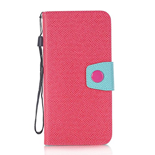 iPhone Case Cover Mischfarben-Art-Wallet-Standplatz PU-lederne Kasten-Abdeckung mit Abzuglinie-Karte Bargeldschlitze für Apple IPhone 7 Plus ( Color : White , Size : IPhone 7 Plus ) Rose