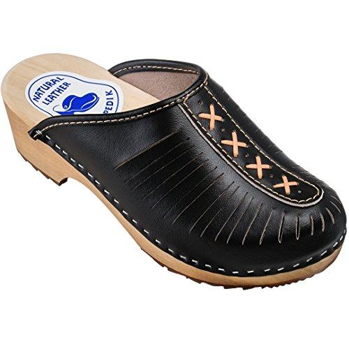 ESTRO Zuecos De Madera para Mujer Calzado Sanitario De Trabajo CDL01 (38, Negro)