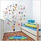 Walplus (TM Wandsticker Combo bunt Foto Baum Plus Alphabet – Home Dekoration, 100, Finish Größe 150 cm x 130 cm, PVC, wiederablösbar, selbstklebend, mehrfarbig